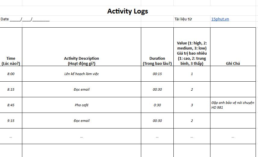 Activity Log Bảng Ghi Chép Hoát Động 15phut.vn